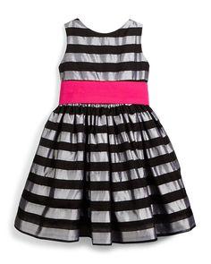 Sleeveless Striped Silk Organza Dress, Silver, Size 7-14, Size: 8 - Susanne Lively