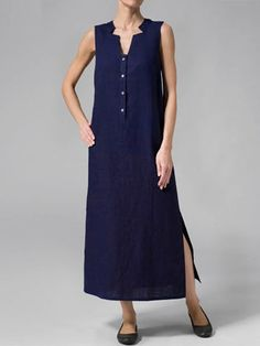 55d637d7cce3 Women Plus Size Buttoned Paneled Slit V Neck Shift Solid Midi Dress. Casual  Summer ...