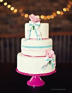 tiffany blue and pink cake with bows and roses