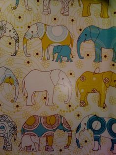 Elephants: this is an IKEA print. I had the juice glasses and napkins.... So cute