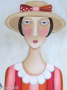 """Fancy Nancy"". 11x14"" Original Folk Art Painting."