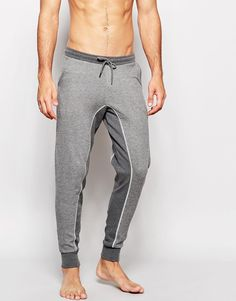 Image 1 ofASOS Loungewear Skinny Joggers In Nep Fabric With Cut And Sew Panels