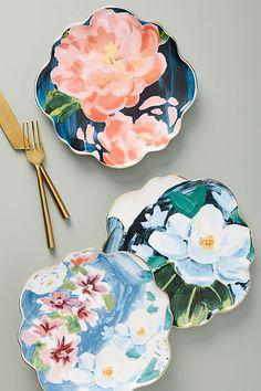 Anais Dessert Plate by Anthropologie in White, Dinnerware Pottery Painting Designs, Paint Designs, Ceramic Painting, Ceramic Art, Farmhouse Dinnerware, White Dinnerware, Cerámica Ideas, Plate Art, Ceramic Tableware