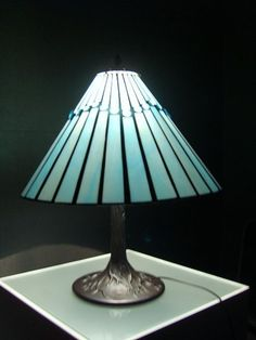 Tiffany Stained Glass Lamp Romantic Blue