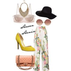 Beach Vacation Brunch by simplyshae on Polyvore featuring Matthew Williamson, Mimi Holliday by Damaris, Chanel, GUESS by Marciano, Linda Farrow Luxe and Dorothy Perkins