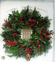 "Nothing says ""Christmas"" like a classic evergreen wreath Christmas Door, All Things Christmas, Christmas Holidays, Christmas Planters, Outdoor Christmas, Holiday Wreaths, Holiday Crafts, Holiday Decor, Xmas Decorations"