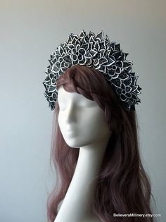 Marvelous Black and Silver Floral Headdress will make you feel like a Queen!  Materials: floral embellishments, wire frame, glass beads, handmade wire headband covered with black fabric, elastic (goes under your hair).  One size fits all. Gorgeous accessory for racing, wedding, parties, photo shoot and other special events in your life!  Ready to ship