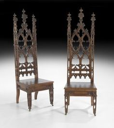 c1850 Gothic Revival hall chairs, oak, 68t, Stanton Hall Master, NO, LA, 15-.