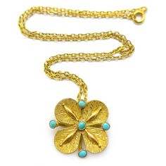 Vintage Gold Plated Floral Turquoise Pendant Conversion Necklace  | Clarice Jewellery | Vintage Costume Jewellery