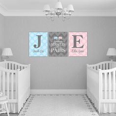 Personalized Twins Nursery Decor With Initials Twin Boy And Baby Gift Chevron Polka Dots Gray Pink Blue Art