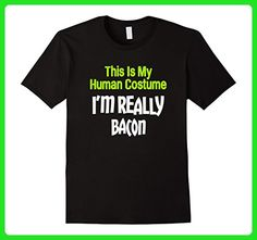 Mens This Is My Human Costume I'm Really Bacon Halloween T-Shirt 3XL Black - Food and drink shirts (*Amazon Partner-Link)