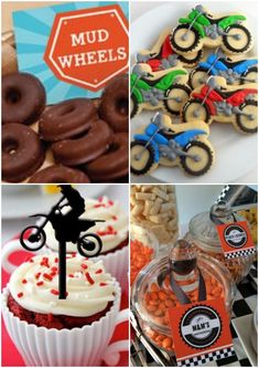 Candy table for motorbike theme birthday party