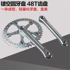 Q278 Free Shipping Deadflies Folding Bicycles CNC Hollow Round Hole Retro Speed Hole Single 48T Gear Tooth Crank & Chainwheel