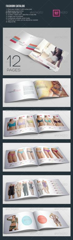 Fashion Catalog In-design TemplatesFully layered INDD 12 Pages Completely editable, print ready Text/Font or Color can be altered