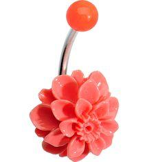 Orange Beautiful Blooming Stone Carnation J-Bar Belly Ring