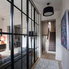 Looking for hallway colour schemes? From the best grey paint to blue and green hallway decorating ideas, here's our pick of the best hallway colour ideas Hallway Colour Schemes, Hallway Paint Colors, Glass Panel Wall, Window Wall, Glass Walls, Glass Partition Wall, Glass Room Divider, Window Frames, Hall Colour