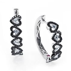 Black and White Classica Collection by Roberto Coin, Black and White Diamond Heart   Earrings in 18kt White Gold