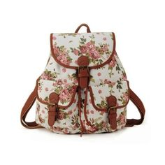 Cute school fashion floral girl backpack MyFriendShop (38 AUD) ❤ liked on Polyvore featuring bags, backpacks, floral rucksack, backpacks bags, floral bag, floral backpack and brown backpack