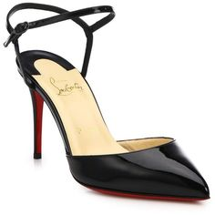 Christian Louboutin Patent Leather Ankle-Strap Slingback Pumps (€740) ❤ liked on Polyvore featuring shoes, pumps, christian louboutin, apparel & accessories, red sole shoes, pointed toe ankle strap pumps, christian louboutin slingback, pointed toe pumps and christian louboutin shoes