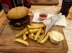 Champ burger with double patty and thyme/rosemary fries @ Der Fette Bulle, Frankfurt