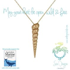 Wild & Free Rose Gold Spiral Shell Necklace  by SeaDragonStudio. Beautiful gold and silver shell jewelry, and Sea Dragon Jewellery donates 10% of every piece sold to The Australian Marine Conservation Society so what are you waiting for!? ;)