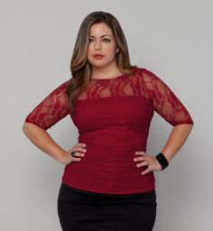 Kiyonna Clothing: Smitten Lace Top #plussize #Fluvia #red top