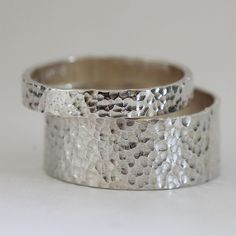 Hammered Silver Ring Wedding Ring Set by Praxis Jewelry