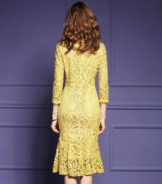 Fitaylor 2019 New Spring Lace Dress Women Three Quarter Sleeve Slim Fishtail Party Dress Knee length Vestido Bodycon Dress Parties, Party Dress, Elegant Backless Dress, Moda Outfits, Yellow Lace Dresses, Short Beach Dresses, Fishtail Dress, Elegant Dresses For Women, Maxi Dress With Sleeves