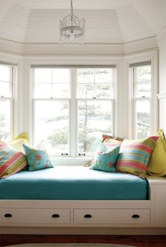 Perfect bay window nook. I might change the colors though....