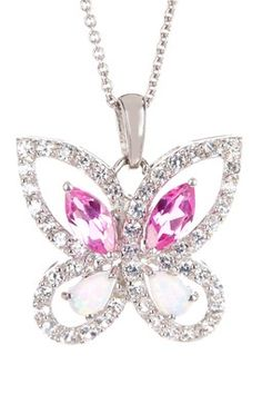 Created Opal, Created White & Created Pink Sapphire Butterfly Pendant Necklace