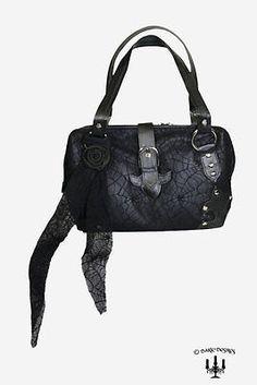 Dark romantic Gothic XL spider Handtasche Tasche mit Spinnennetz schwarz
