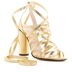 Jill Stuart Michelle Ankle Wrap Sandal ($250) ❤ liked on Polyvore featuring shoes, sandals, gold, leather slip on shoes, leather strap sandals, slip on sandals, block heel sandals and leather sole sandals
