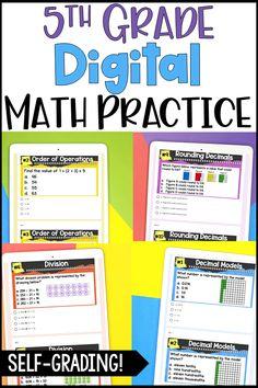 5th Grade Math Games, Fifth Grade Math, 5th Grade Classroom, Math Assessment, Middle School Teachers, Math Practices, Teaching Math, Teaching Ideas, Guided Math