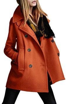 Un Revers Croisé Des Femmes D'hiver Jecket Laine Vêtements Manteaux Orange S