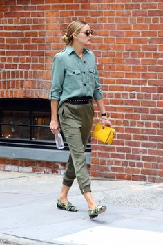 Olivia Palermo wearing Dior So Real Metal and Plastic Sunglasses, Pretty Ballerina Faye Camo Loafers and Zara Military Shirt in Light Khaki