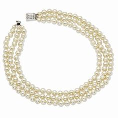 TRIPLE STRAND SIMULATED PEARL NECKLACE 18""