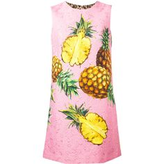 Dolce & Gabbana pineapple printed brocade dress (112,770 MKD) ❤ liked on Polyvore featuring dresses, pink, cocktail dresses, short evening dresses, summer cocktail dresses, pink summer dresses and pink dress