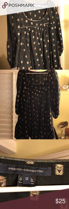 French Connection Black and Gold Party Dress Size 12 French Connection black dress with gold owl print and ruffled bottom. Great Party Dress! French Connection Dresses Mini