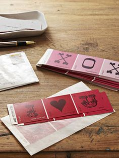 Valentine's day paint strip cards