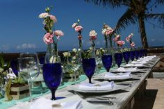 Romantic table design for boho beach destination wedding at Ana & Jose Tulum, Mexico. Magic Art Wedding Studio