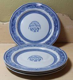 "Vintage W69 Heritage Spode Copeland Lot of 4 8"" Salad Plates Blue Eagle medium #SpodeCopeland"