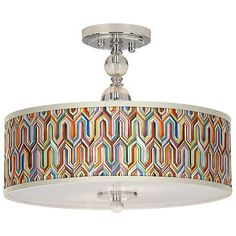 """Synthesis Giclee 16"""" Wide Semi-Flush Ceiling Light - #N7956-2N376 