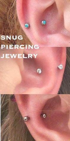 Simple Minimal Ear Piercing Ideas at MyBodiArt.com - Snug Piercing Jewelry Crystal 16G Crystal Barbell Earring