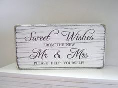 Wedding candy bar/sweet table free-standing tablesign, vintage distressed | eBay