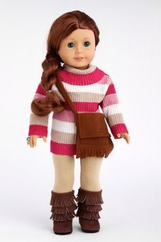 DreamWorld Collections Fun Loving Girl - Colorful turtle neck with beige stretchy leggings, brown purse and brown sherpa boots - 18 Inch Doll Clothes : Winter Doll Clothing