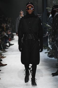 Each season Moncler and Thom Browne produce a grand, theatrical performance for the Moncler Gamme Bleu sub-line. For FW17, the theme is mountaineering.