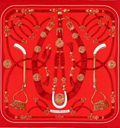 """Scarf 70 in vintage silk """"Gaucho"""" shaped in red also celebrates in a unique manner the history of Hermes"""