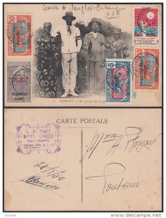 French Equatorial Africa 1930 Used stamps on postcard ( Mobaye ) , Natives - Delcampe.com