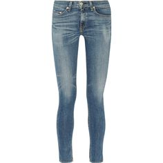 Rag & bone The Skinny mid-rise jeans ($145) ❤ liked on Polyvore featuring jeans, light denim, skinny fit jeans, mid rise skinny jeans, faded blue jeans, rag bone jeans and blue skinny jeans