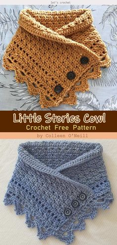 Little Stories Cowl Free Crochet Pattern This The MALIA Buttoned Cowl Crochet Free Pattern is a fashionable boho-styled cowl. Make one now with the free pattern provided by the link below. Poncho Au Crochet, Crochet Scarves, Diy Crochet, Crochet Crafts, Crochet Clothes, Crochet Stitches, Crochet Cowls, Knitting Scarves, Crochet Things